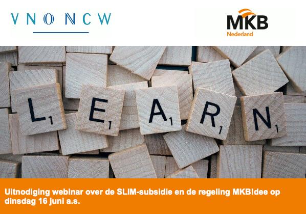 Uitnodiging webinar over de SLIM-subsidie en de regeling MKB!dee op dinsdag 16 juni a.s.